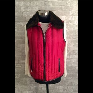 Charter Club Vest with Fur Collar Large